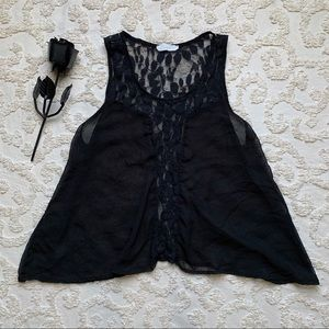 Lush Gothic Leaf Lace Sheer top